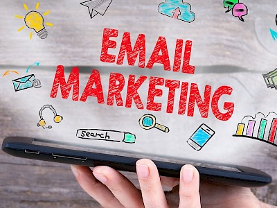 Email marketing graphic depicting and mobile phone with the words