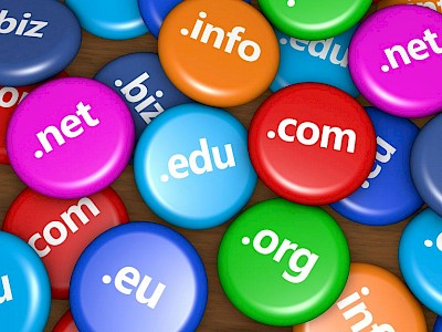 Graphic with buttons representing domain names